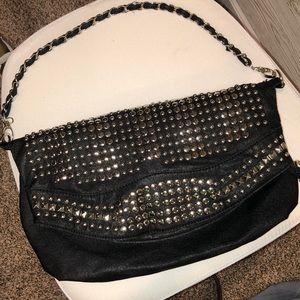 Handbags - Black studded slouchy shoulder bag
